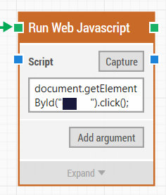 How to use Run Web JavaScript block to Click and Get Web